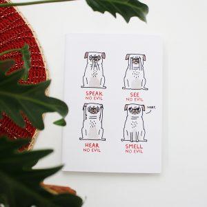 Libreta con renglones Speak No Evil Pugs - Gemma Correll