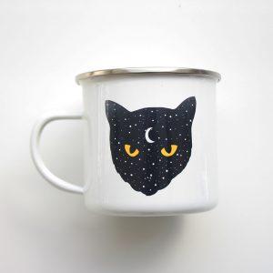 Taza de Metal - Gato Luna - PuercoSpin